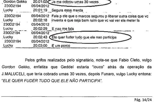 Relatório mostra conversa entre Funaro e Fábio Cleto sobre o ministro Geddel (Foto: Reprodução)