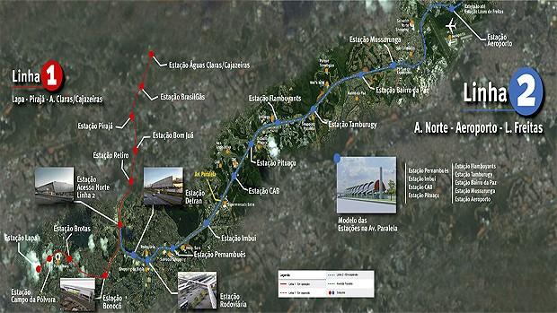 Mapa Linha 2 do metrô Salvador Bahia (Foto: Arte/GOVBA)