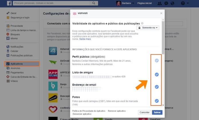 Você pode editar permissões nos aplicativos salvos no Facebook (Foto: Reprodução/Barbara Mannara)