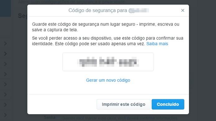 Código de backup do Twitter pode ser usado em emergências (Foto: Reprodução/Twitter)