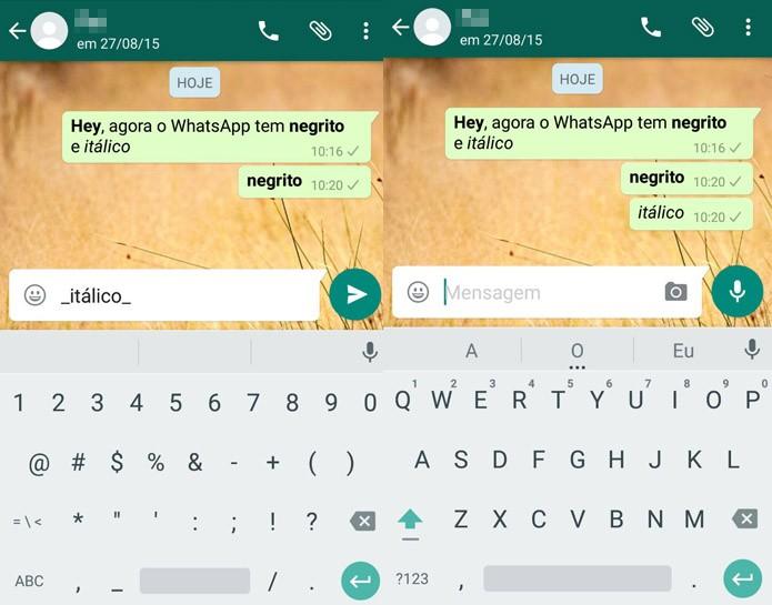 Digite underline para a mensagem aparecer em itálico (Reprodução/Carol Danelli)