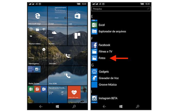 Acessando a ferramenta de fotos do Windows 10 Mobile (Foto: Reprodução/Marvin Costa)