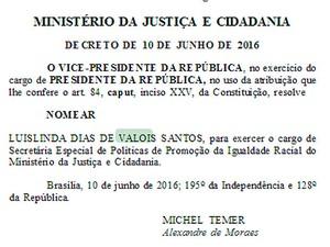 Nomeação da desembargadora Luislinda Valoisfoi publicada nesta segunda-feira (13), no Diário Oficial da União. Bahia (Foto: Reprodução/ Diário Oficial da União)