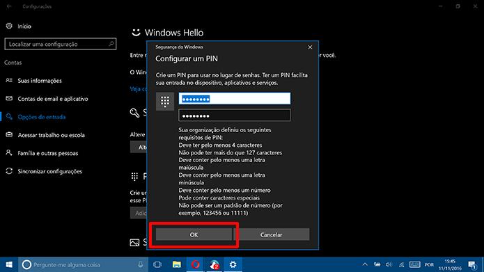 Clique em OK para salvar novo PIN complexo do Windows 10 (Foto: Reprodução/Elson de Souza)
