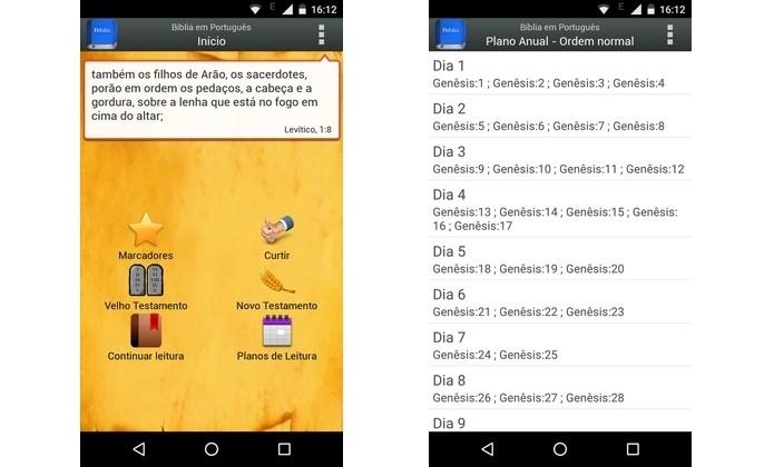 Aplicativo Android B�blia em Portugu�s Almeida (Foto: Reprodu��o/Raquel Freire)