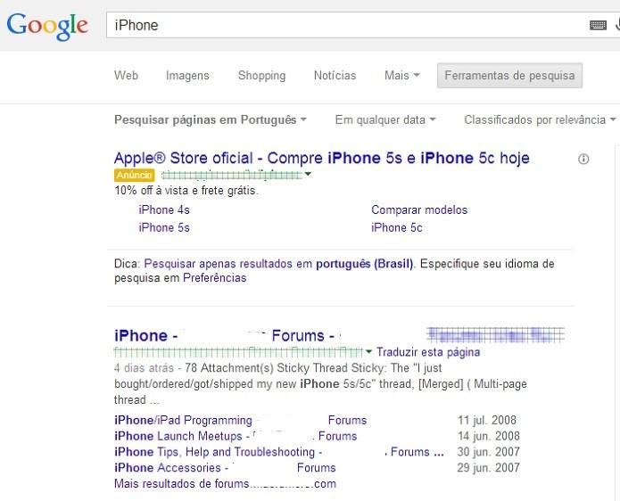 Diversos fóruns aparecem no resultado das buscas no Google (Foto: Reprodução/Taysa Coelho)