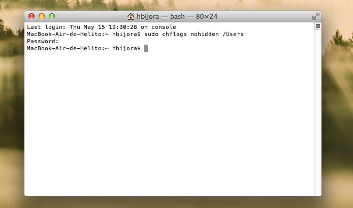 Execute o comando para tornar o diretório visível no Finder (Foto: Reprodução/Helito Bijora)
