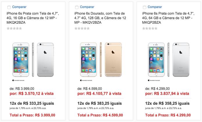 Preço iPhone 6S (Foto: Reprodução)