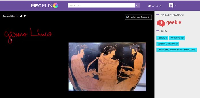 Videos do MECFlix podem ser exibidos em tela cheia e salvos no perfil do usuário (Foto: Reprodução/Barbara Mannara)