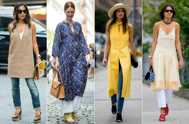 Tendências do streetstyle: vestido com calça (Foto: Imaxtree)
