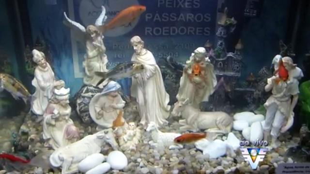 Exposição de Presépios que acontece na Igreja do Valongo em Santos,SP (Foto: Reprodução / TV Tribuna)