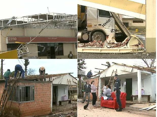 Temporal durou cinco minutos, segundo os moradores  (Foto: Reprodução / RPC TV)