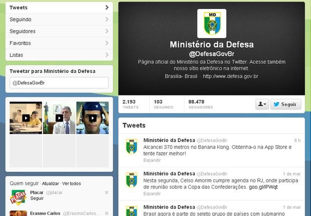 Twitter Ministério da Defesa (Foto: Reprodução)