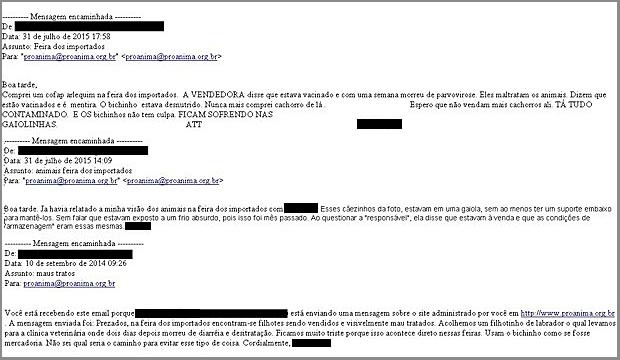 E-mails enviados à ProAnima com relatos de maus-tratos a cães na Feira dos Importados do DF (Foto: ProAnima/Divulgação)