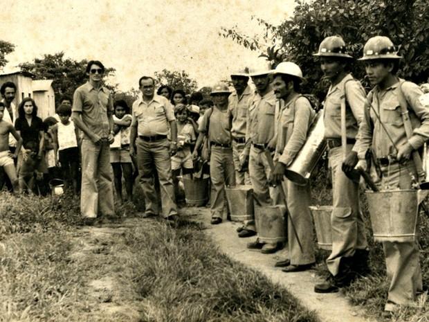 Apresentação aos inspetores de campo em 1974  (Foto: Aldo Moura/Arquivo pessoal)