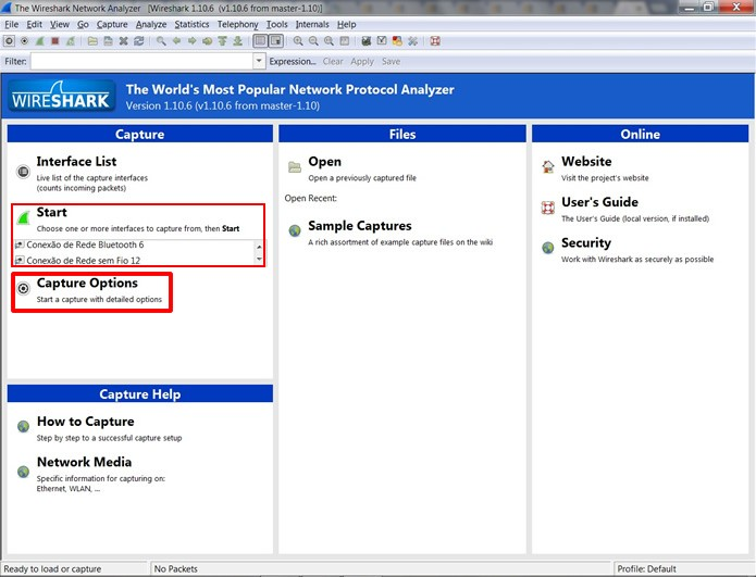 """Execute o WireShark, escolha a rede que será monitorada e clique em """"Capture Options"""" (Foto: Reprodução/Daniel Ribeiro)"""