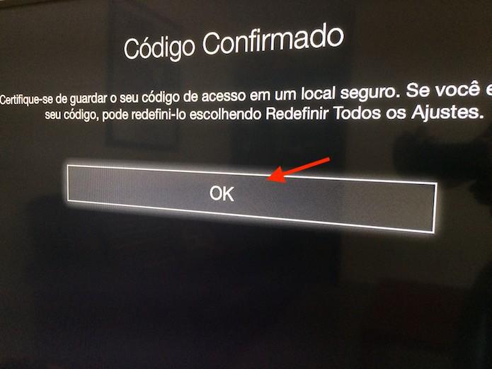Finalizando a configuração do código de quatro dígitos e a ativação das restrições na Apple TV (Foto: Reprodução/Marvin Costa)