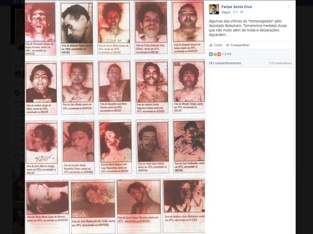 Em seu perfil pessoal no Facebook, presidente da OAB-RJ, Felipe Santa Cruz, de supostas vítimas de torturas cometidas pelo coronel Brilhante Ustra, que foi exaltado pelo deputado Jair Bolsonaro (Foto: Reprodução/Facebook)