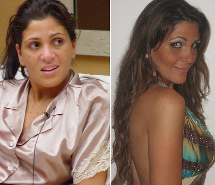 15 anos após o BBB1, Leka continua uma morena linda (Foto: Jaq Joner/ Tv Globo e Reprodução da Internet)