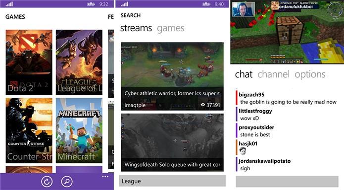8Stream é um cliente não oficial do Twitch.tv ideal para quem deseja assistir streaming de jogos (Foto: Divulgação/Windows Phone Store)