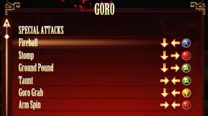 Goro não pode pular, mas tem golpes especiais bem fortes (Foto: Reprodução/YouTube)