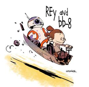 Rey e BB-8 como se vivessem no mundo de Calvin e Haroldo (Foto: Reprodução/Instagram/briankesinger)