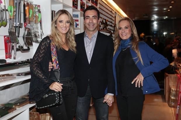 Helô Pinheiro, César Tralli e Ticiane Pinheiro (Foto: Rafael Cusato/Brazil News)