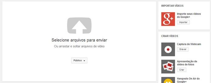 Recurso permite importar vídeos diretamente do Google+ (foto: Reprodução/YouTube)
