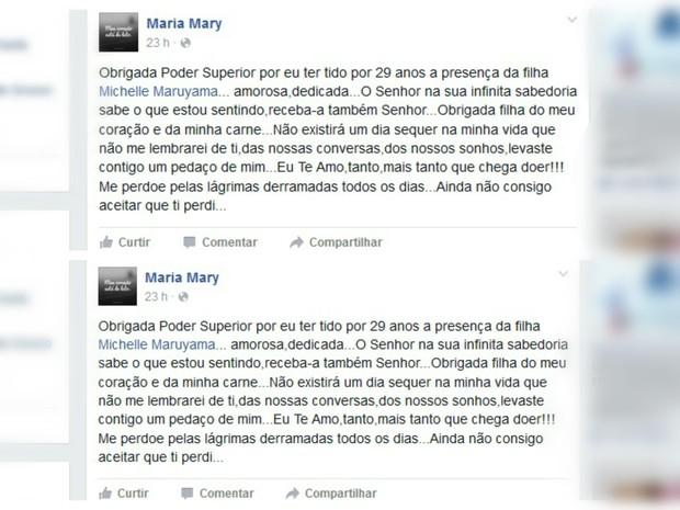 Mãe fez homenagem no Facebook depois de perder as duas filhas no Japão (Foto: Reprodução/Facebook)