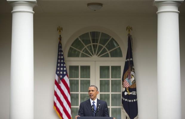 O presidente americano, Barack Obama, durante o discurso sobre a legalização do casamento gay em todo país (Foto: Pablo Martinez Monsivais/AP)