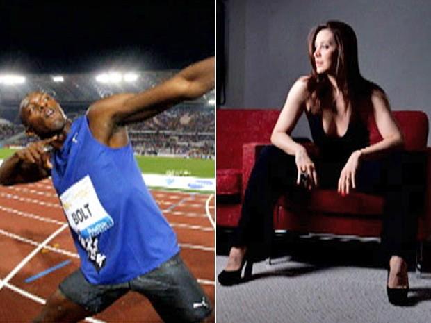 Usain Bolt faz seu famosos gesto depois das corridas e Raia posa para divulgação (Foto: Mais Você / TV Globo)