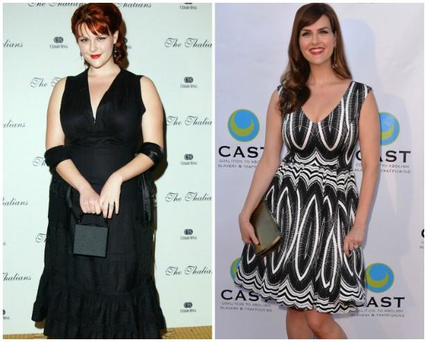 A atriz Sara Rue em novembro de 2002 e em junho de 2014. (Foto: Getty Images)