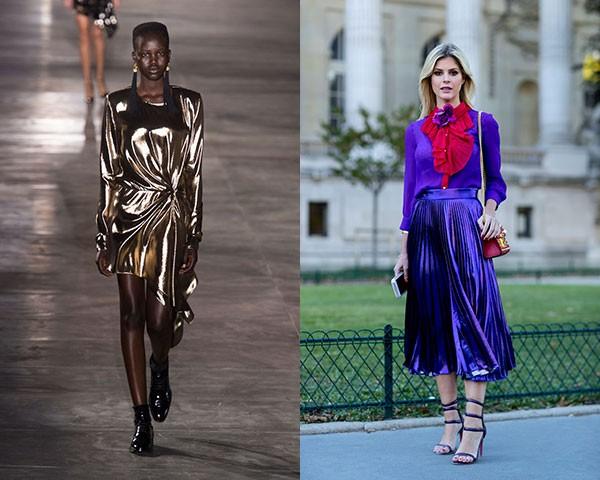 Os metálicos são a maior sensação da moda e marcaram o desfile da Saint Laurent (Foto: Imaxtree)