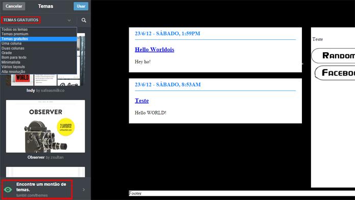 Tumblr possui vários temas gratuitos que podem ser usados por usuários (Foto: Reprodução/Tumblr)