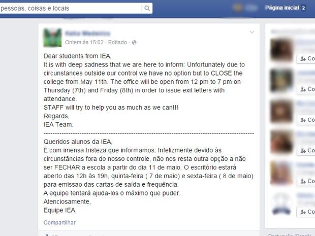 IEA Dublin Irlanda fechamento aulas (Foto: Reprodução Facebook)