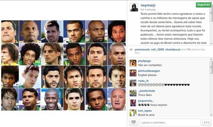 Neymar envia mensagem para os jogadores da Seleção Brasileira (Foto: Reprodução/Instagram)