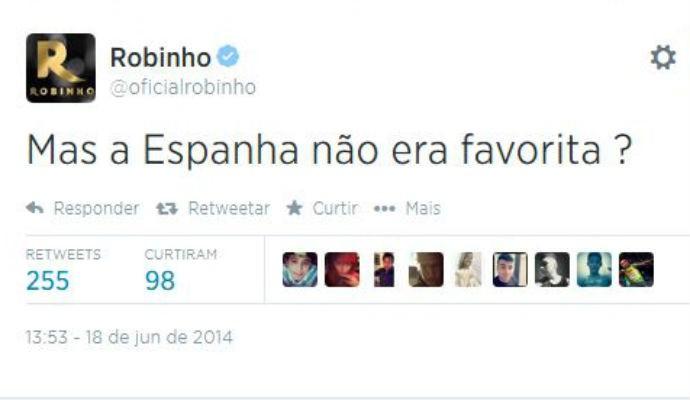 Robinho brinca com a eliminação da Espanha