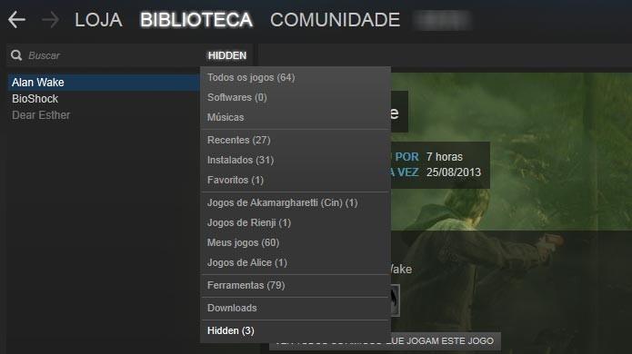 Steam: saiba como ocultar jogos da sua biblioteca (Foto: Reprodução/Tais Carvalho)