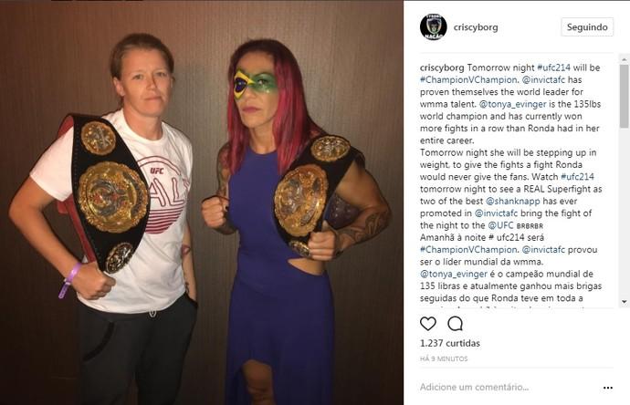 Cris Cyborg, Tonya Evinger, cutucada Ronda Rousey, instagram (Foto: Reprodução/Instagram)
