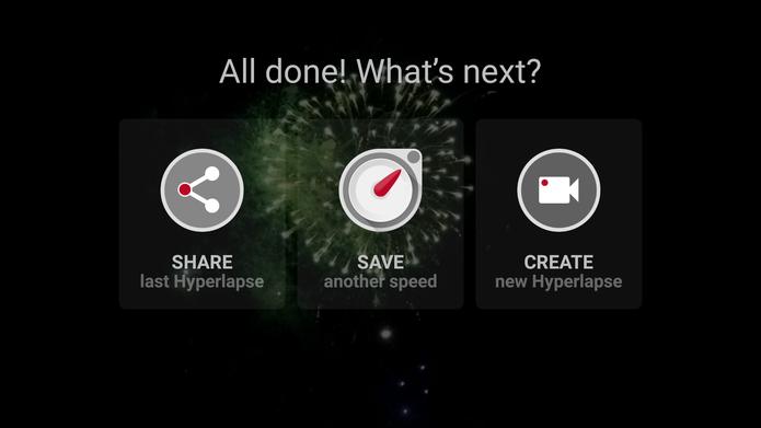 Microsoft Hyperlapse Mobile oferece compartilhamento e novas edições após salvar vídeo (Foto: Reprodução/Elson de Souza)
