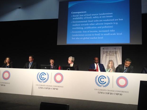 Painel sobre El Niño aconteceu nesta quinta-feira (4) na COP 20, em Lima, no Peru (Foto: Eduardo Carvalho/G1)