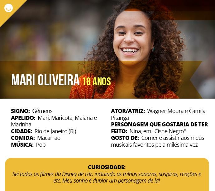 Card com informações curiosas de Mari Oliveira (Foto: Gshow)