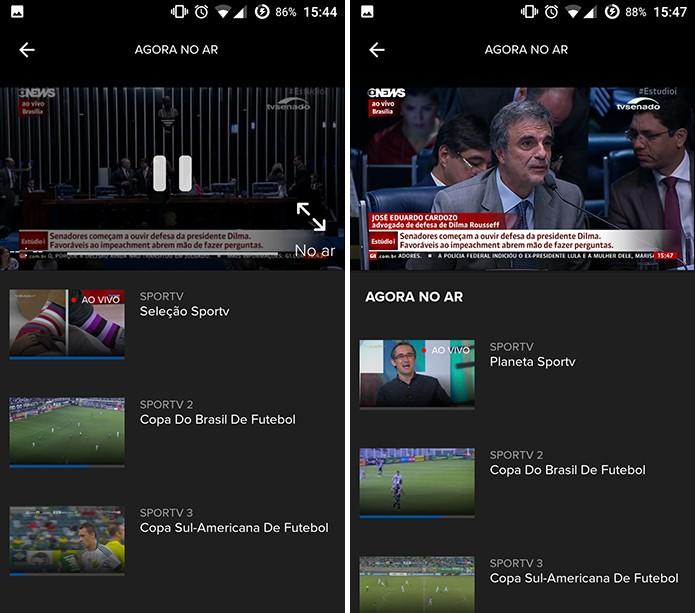 Globosat Play mostra programação ao vivo e traz atalhos para outros canais (Foto: Reprodução/Elson de Souza) (Foto: Globosat Play mostra programação ao vivo e traz atalhos para outros canais (Foto: Reprodução/Elson de Souza))