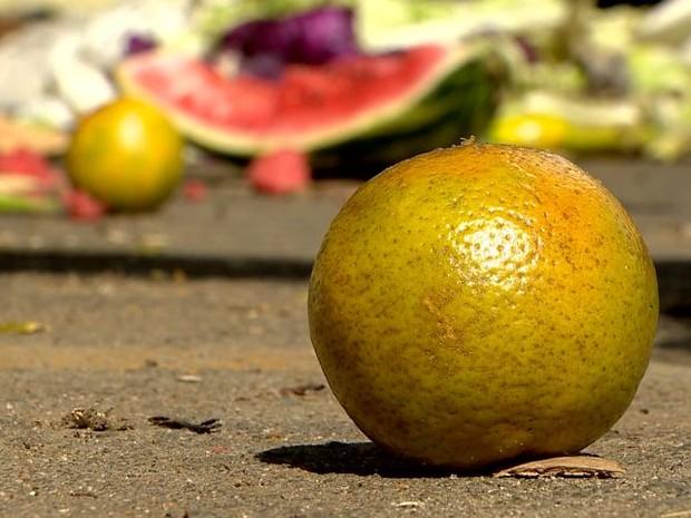 Frutas são encontradas no lixo da Ceasa no Espírito Santo (Foto: Reprodução/ TV Gazeta)