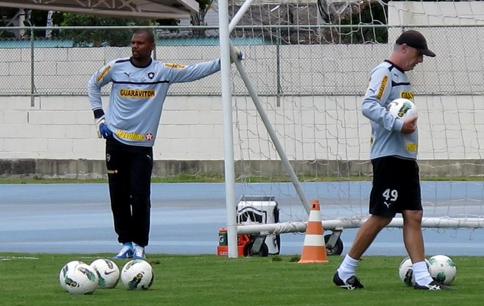 Jefferson e Flavio Tenius botafogo treino (Foto: Thales Soares / Globoesporte.com)