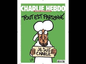 Capa da nova edição do jornal satírico 'Charlie Hebdo' traz charge de Maomé com uma placa dizendo 'Eu sou Charlie' e a frase acima da cabeça: 'Tudo está perdoado'. A edição pós-atentado terá tiragem de 3 milhões de unidades (Foto: Charlie Hebdo/Reuters)