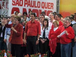 Dilma, Hadad e Lula em comício em São Paulo (Foto: Márcio Pinho/G1)