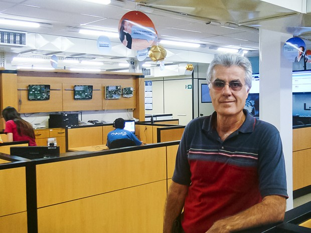 O empresário Dilson Moraes na empresa de telecomunicações em Santa Rita do Sapucaí (Foto: Arquivo Pessoal)
