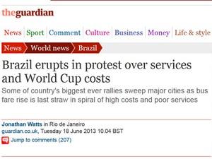 Jornal inglês fala em insatisfação com gastos para a Copa (Foto: Reprodução/ The Guardian)