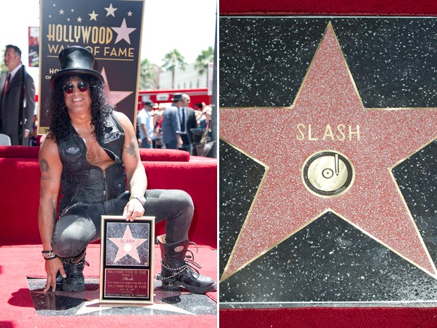 Slash, que foi guitarrista do Guns N' Roses, posa com estrela que recebeu na calçada da fama em Hollywood, em Los Angeles; músico é famoso por seus riffs, entre eles o da canção 'Sweet child o' mine' (Foto: Joe Klamar/AFP)
